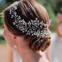 Горный хрусталь повязки для женщин Свадебные аксессуары для волос; свадебные Оголовье Тиара свадебное украшение на голову повязка на волос...