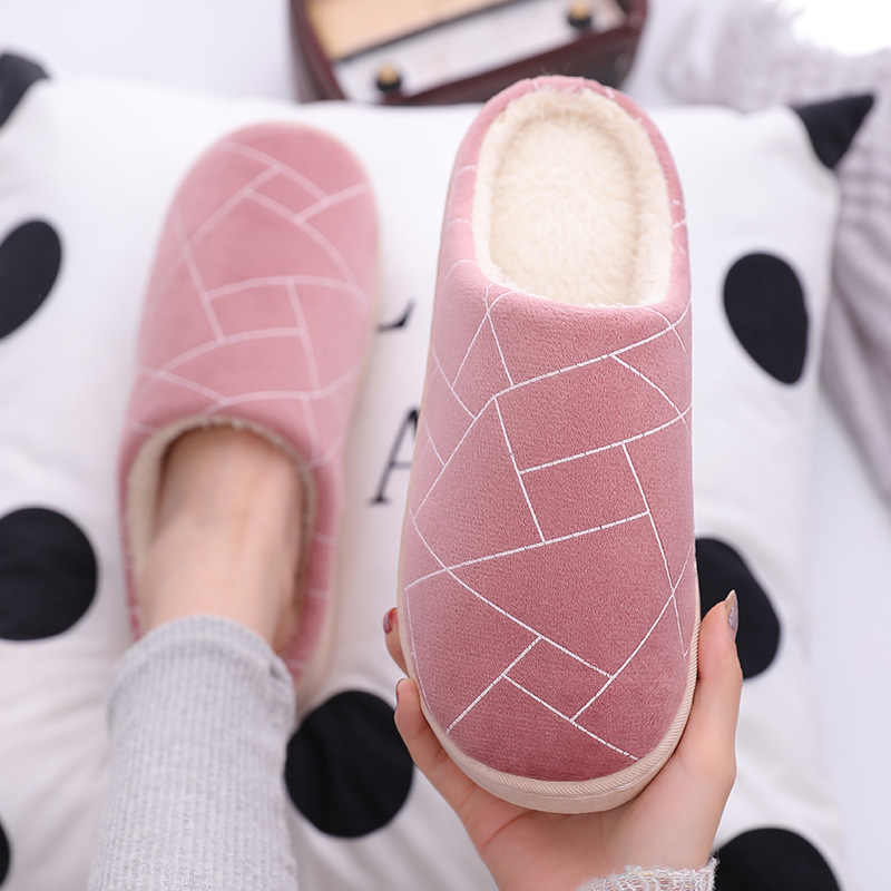 NEW Stone Cloth Geometry Indoor Home Male and Female Couple Wood Floor Home Warm Non-slip Autumn and Winter Cotton Slippers