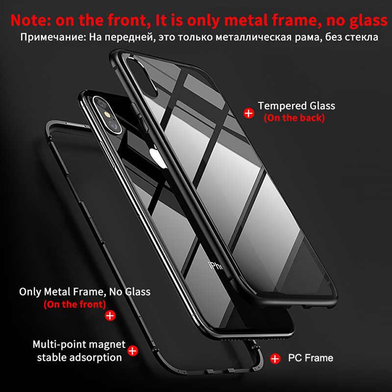 โลหะแม่เหล็กการดูดซับกรณีสำหรับiPhone SE 11 Pro XS Max XRกระจกนิรภัยด้านหลังแม่เหล็กสำหรับiPhone 7 8 6 6S Plus XSกรณี