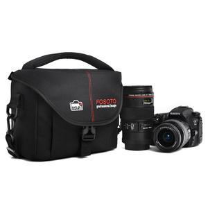 Image 1 - FOSOTO DSLR Kamera Tasche Mode Polyester Schulter Tasche Wasserdichte Kamera Fall Für Canon Nikon Sony Objektiv Tasche Tasche Foto Video tasche