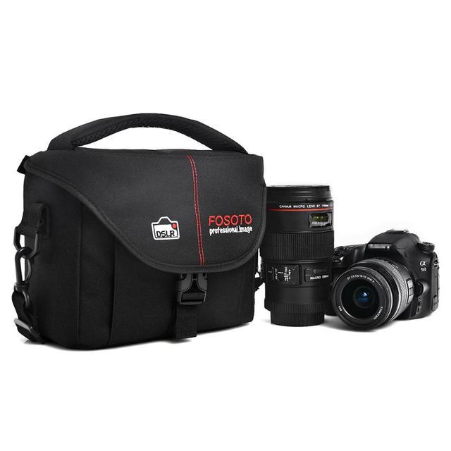FOSOTO DSLR kamera çantası moda Polyester omuz çantası su geçirmez kamera çantası Canon Nikon Sony için Lens kılıfı çanta fotoğraf Video çanta