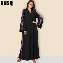 Элегантное макси платье с цветочной мусульманской вышивкой абайя Этническая хиджаб кардиган кимоно длинный халат платья Ближний Восток ИД Рамадан исламский