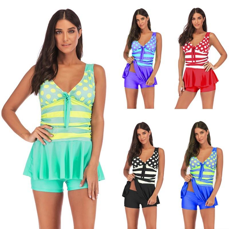 Plus Size 5XL Print Tankini Set Big Plus Size Plus Swimwear Women Swimsuit Tankini Two Piece Set Split Body Straps 2019
