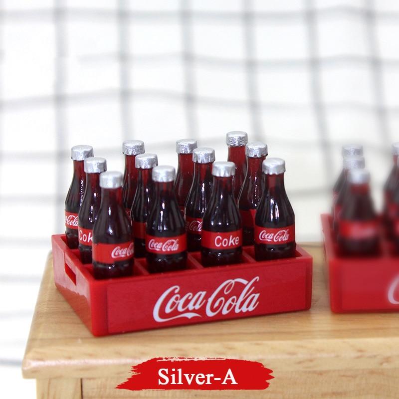 12pcs Mini Cola Drinks 1/12 Dollhouse Miniatures Accessories DIY Kitchen Food Drink For BJD Doll  Mini Coke Drink Kitchen Toys