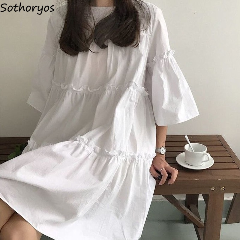 Dress Women Three Quarter Sleeve A-line Summer Pleated Solid Purple Korean Style Loose Fashion Kawaii Casual Students Chic New