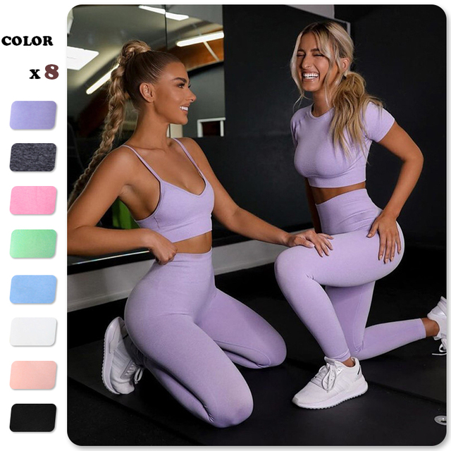 Seamless Women Yoga Set Workout Shirts Sport Pants Bra Gym Suits Fitness Shorts Crop Top High Waist Running Leggings Sports Sets 1