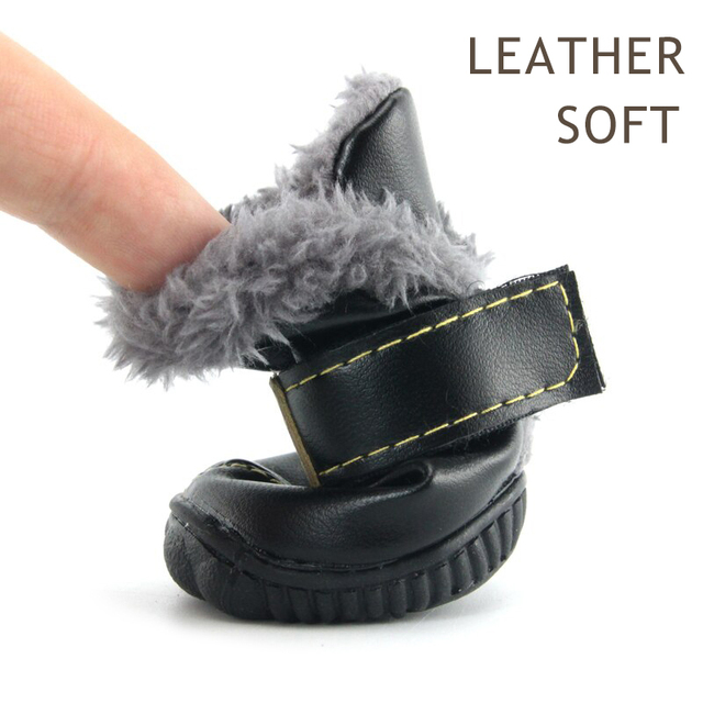 Winter Pet Dog Shoes Warm Snow Boots Waterproof Fur 4Pcs/Set Small Dogs Cotton Non Slip XS For ChiHuaHua Pug Pet Product PETASIA 1