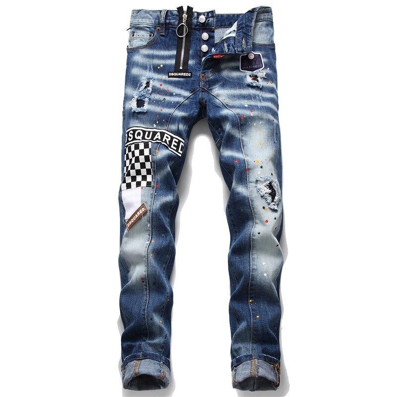 New Mens Skinny Jeans Ripped Jeans For Men Elastic Paint Slim Pants Men Clothes Hip Hop Streetwear Spring Autumn Blue