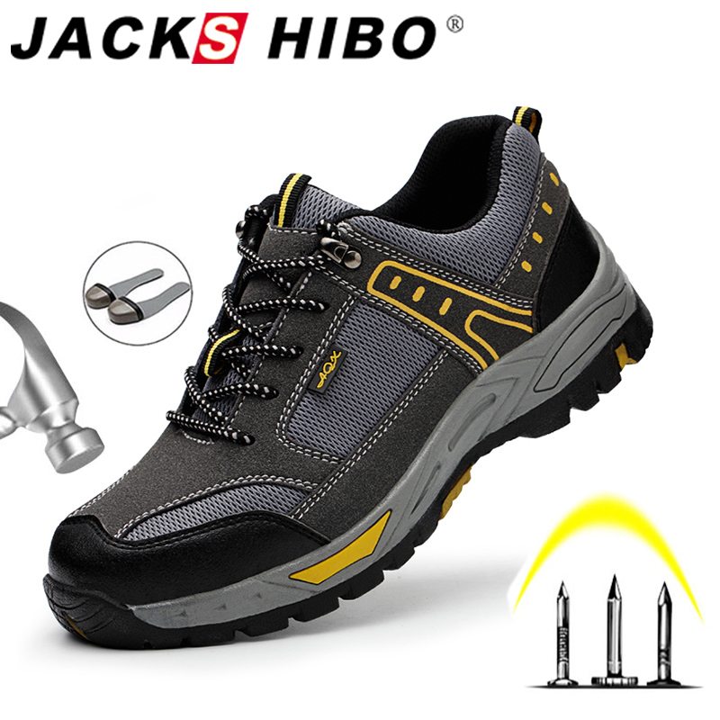 JACKSHIBO Safety Shoes For Men Indestructible Anti-smashing Steel Cap Safety Work Shoes Men Security Boots Work Shoes Sneakers