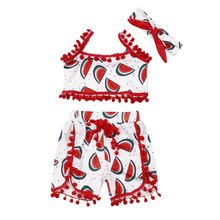 Summer Clothes Cartoon Toddler Infant Baby Girls Sleeveless Tops+Shorts Outfits 2PCS Set 1-5Y