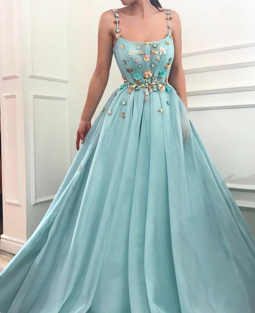 Sky Blue Muslim Evening Dresses 2019 A-line Spaghetti Straps Tulle Flowers Islamic Dubai Saudi Arabia Long Evening Gown Prom