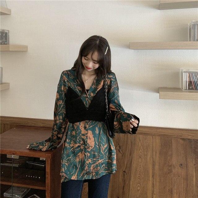 New  Blouse  Women Shirt   Print  satin Long   Tops  Ladies BL009 3