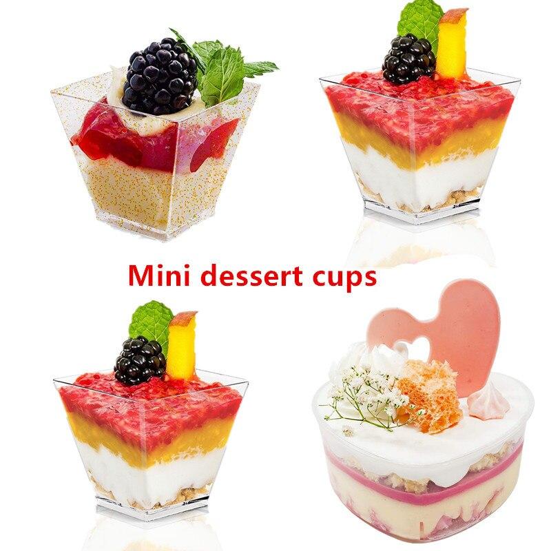 60/120 мл одноразовая пластиковая посуда Чашки Десерт 25/50 шт прозрачный мини-десертные чашки контейнер для фруктового салата вечерние поставк...