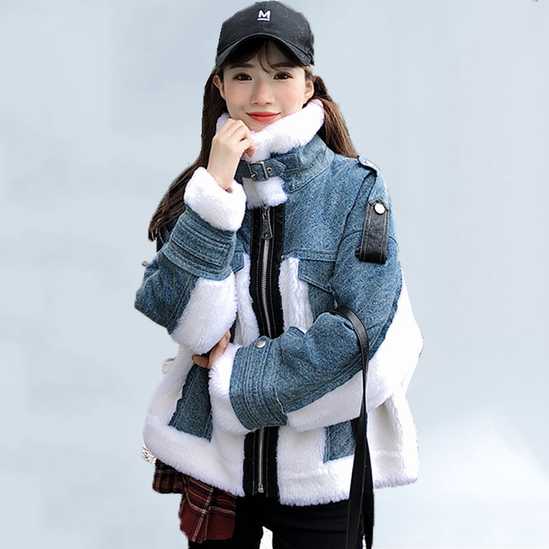 Cashmere Coat Winter Short Jacket Women 2021 New Lamb Wool Fur One Denim Stitching Motorcycle Jacket Women Thick Warm Overcoat