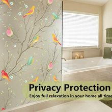 Decorative-Glass-Film Bird-Window-Sticker Privacy Static-Cling Vinyl Frosted Opaque-Non-Adhesive