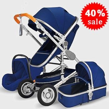 Cochecito de bebé 3 en 1, cochecito de niño tumbado o amortiguador plegable, ligero, de dos lados, para las cuatro estaciones