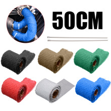 50CM Universal MOTORCYCLE Incombustible Tur-bo MANIFOLD HEAT EXHAUST THERMAL WRAP TAPE STAINLESS TIES 1.5mm*5cm*5m