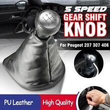 5 Speed Manual Gear Shift Knob Gaiter Boot Cover For PEUGEOT 207 307 406 for CITROEN C3 C4 C5 XSARA