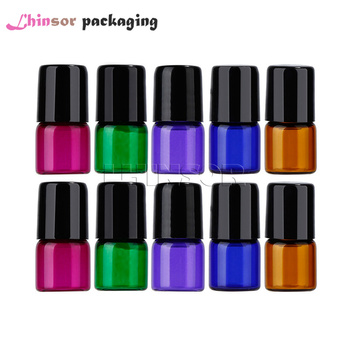 цена на 50PC/Pack 1ml 2ml 3ml 5ml  Colorful Glass Sample Bottle Essential Oil Vials  Doterra Containers Roll on  Travel Bottles