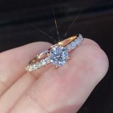 Novo design de noivado de cristal na moda venda quente anéis para mulheres aaa branco zircão cúbico elegante anéis jóias de casamento feminino