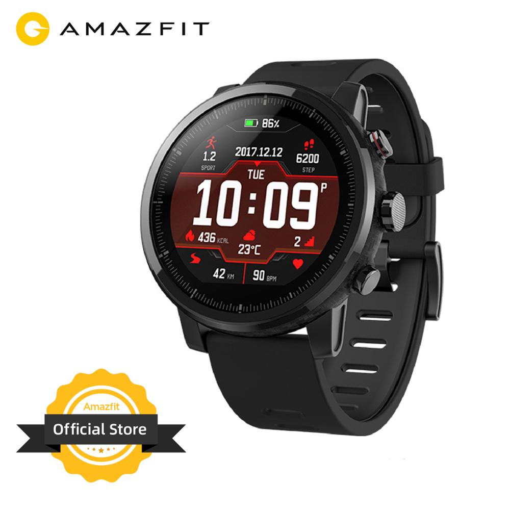 Original New Amazfit Stratos 2 Smartwatch 5ATM Waterproof Smart Watch Bluetooth GPS Step Counter Heart Monitor  For Android IOS