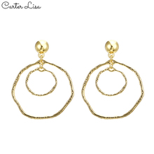 CARTER LISA Vintage Gold Round Drop Earrings Geometric Statement Wedding Jewelry Earrings For Women pendientes wholesale