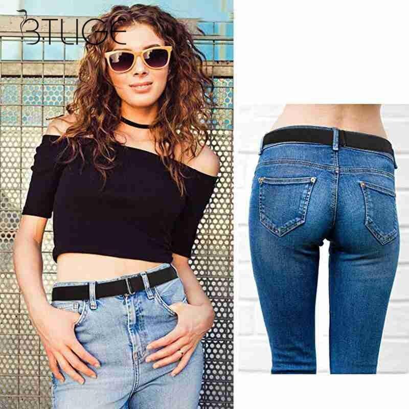 Unisex Casual Slim Stretch Cinturon Para Jeans Pantalones Vestir Hombres Mujeres Alta Calidad Accesorios De Cinturon De Personalidad Cinturones De Hombre Aliexpress