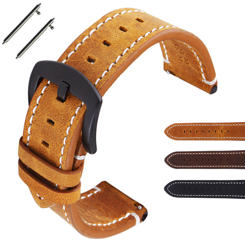 Watch Accessories Cow Leather Strap Watch Bracelet Brown Vintage Watch band 18mm 20mm 22mm Watchband For Fossil Watch