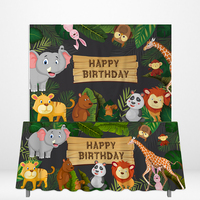 Allenjoy Jungle Party Supplies Spring Lion Panda Deer Elephant DIY Table Covers Kid Happy Birthday Backdrops Tablecloth Decor