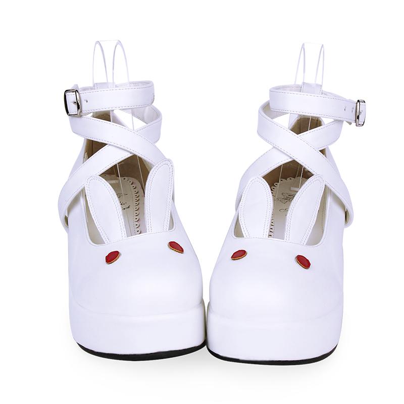 COS shoes rabbit ears cute Lolita shoes Thick Middle Heel Kawaii Girl Tea Party Sweet Lolita 4 Colors PU Lovely Loli Victoria