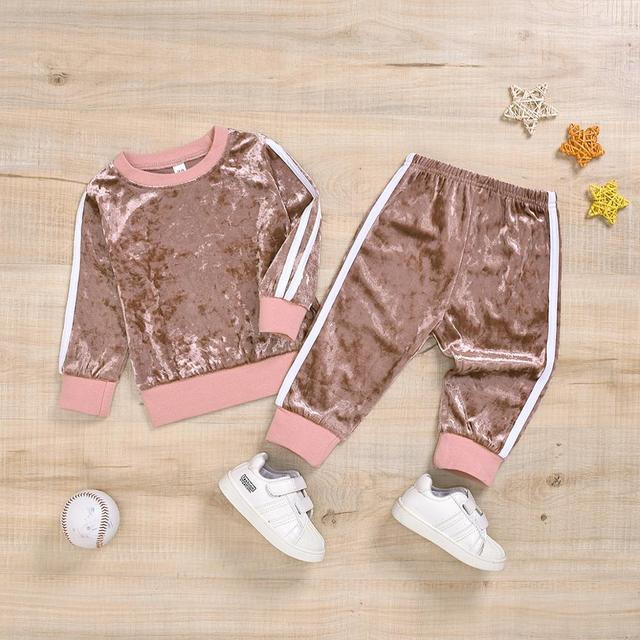 Children's girl clothes Long Sleeve o-neck Clothes Set Solid Tops+Pants Outfits kid autumn girl clothing ropa para adolecentes