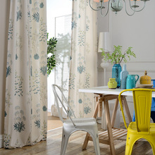 Modern Idyllic American Cotton Printing Shading Curtains for Living Dining Room Bedroom.