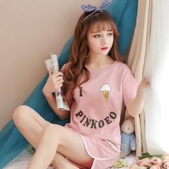 Hot sale Summer Shorts Pajama Sets for Women Short Sleeve Sleepwear Cute Girls Cartoon Pyjama Homewear Pijama Mujer Home Clothes 13