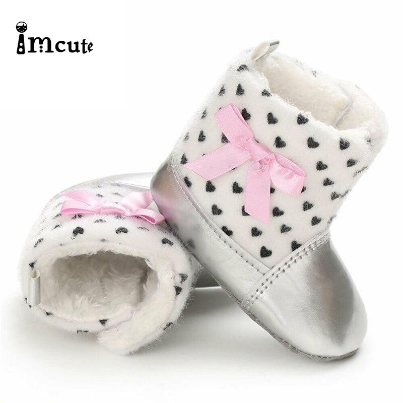 Imcute 2020 Newborn Baby Kid Girl Metal Color Booties Boy Girl Crib Pram Shoes Winter Soft Snow Boots Prewalker 3-11M