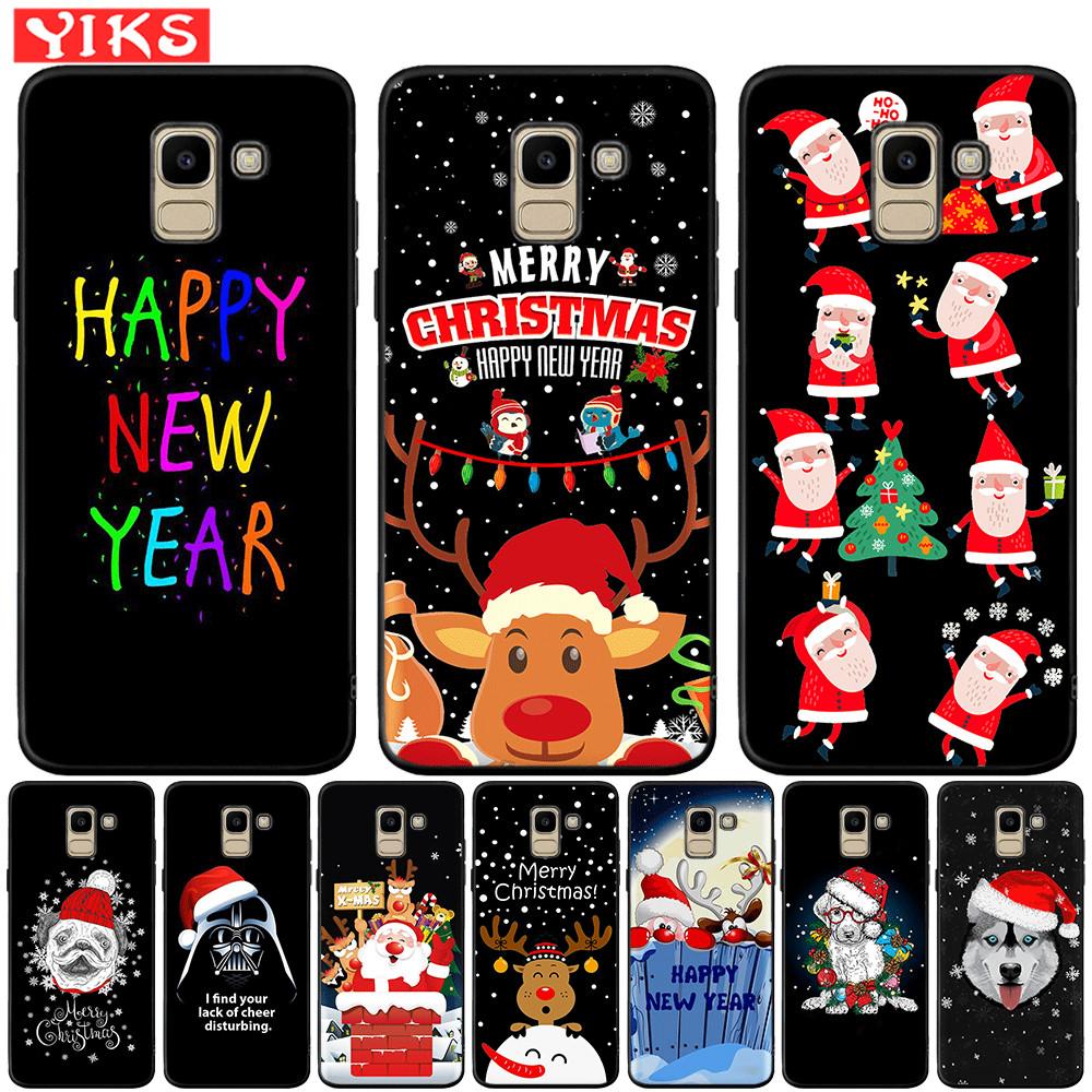 Santa Claus Silicone Phone Case For <font><b>Samsung</b></font> Galaxy J3 <font><b>J5</b></font> J7 2016 2017 J2 Pro 2018 J4 J6 Plus J8 2018 Etui Christmas Gift image