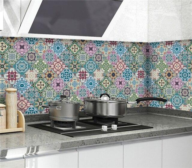 المطبخ خلفية ارتفاع درجة الحرارة مكافحة النفط لصق المطبخ ملصقا ذاتية اللصق احباط مقاوم للماء الحمام خلفية 5