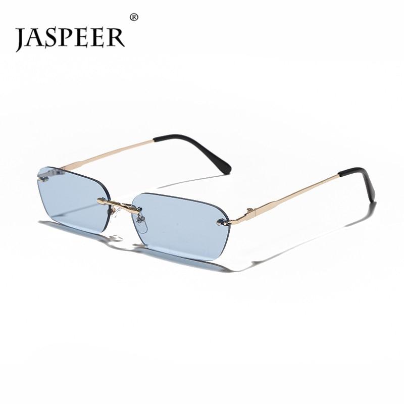 JASPEER Rimless Rectangle Sunglasses Women UV400 Driving Sun Glasses Men Clear Color Summer Accessories Square Small Size