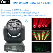цена на 2Pcs/Lot RGBW 4IN1 LED 6 Eyes Moving Head Light DMX 512 RGB Laser Light DJ Disco Club Party Stage Lighting Effect Equipment