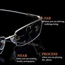 Металлические титановые Мультифокальные очки для чтения, прогрессивные бифокальные анти-голубые лучи, УФ-защита, очки для дальнозоркости, полуоправа для мужчин и женщин