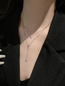 Новое модное ожерелье из стерлингового серебра 925 пробы с o-образной цепочкой, розовое золото, циркон, модное ожерелье для женщин, подарок на ...