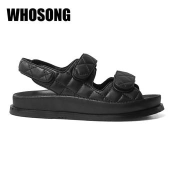 Summer Women Sandalias Girls Platform Sandals Woman Black Footware Shoes Ladies Real Leather Beach Sandals Female Brand Sandals