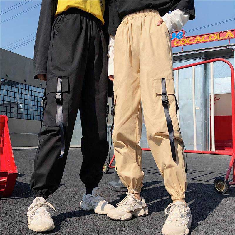 Overall Women's Loose-Fit BF Harajuku Hong Kong Style High-waisted Casual Pants Students INS Athletic Pants Hip Hop Beam