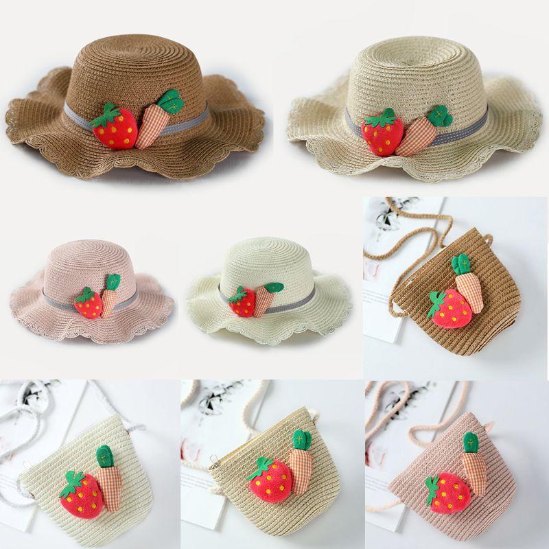 Kids Girls Summer Wide Brim Sun Hat Woven Straw Beach Bucket Cap With Cute Strawberry Carrot Decor Portable Zipper Handbag Purse