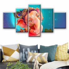 Art Canvas Classic Modular Picture HD 5 Panel Ganesha Buddha Poster Home Decor Wall Portrait Painting Printed Living Room Framed
