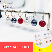 2019 Hot selling 925 silver and rose gold Natural Freshwater Black Red White Big Pearl Dangle Earrings women fashion jewelry