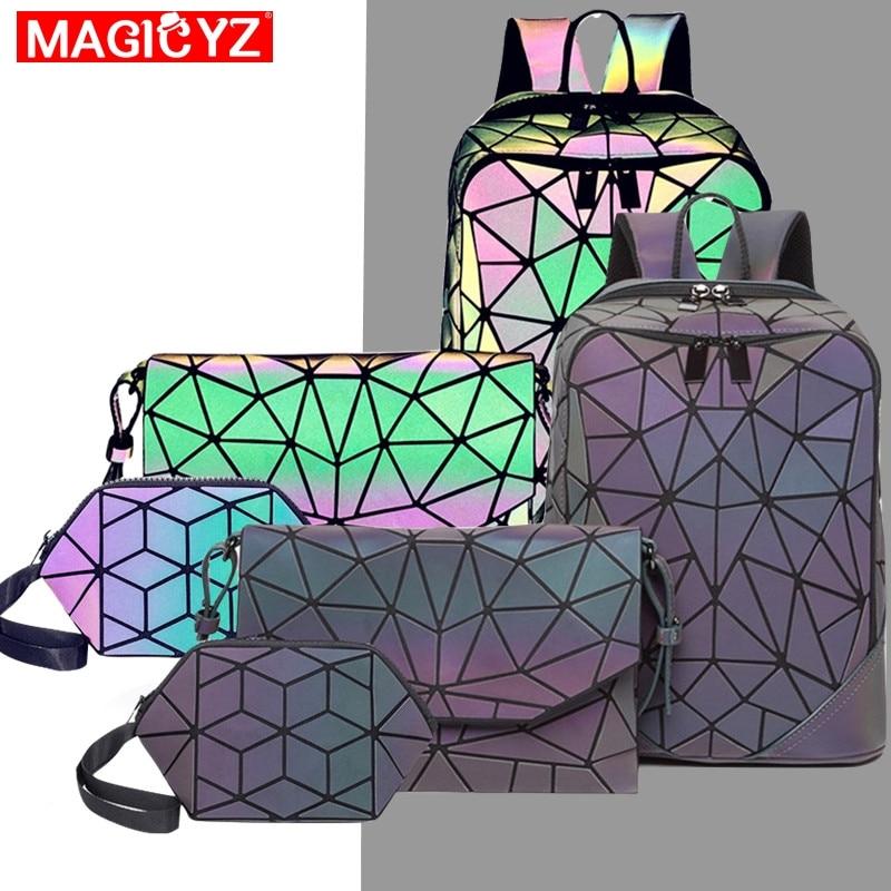 3pcs Fashion Set Women Backpack PVC Holographic Luminous Backpack Ladies Back Pack Girl Backpack Bag Envelope Shoulder Bag