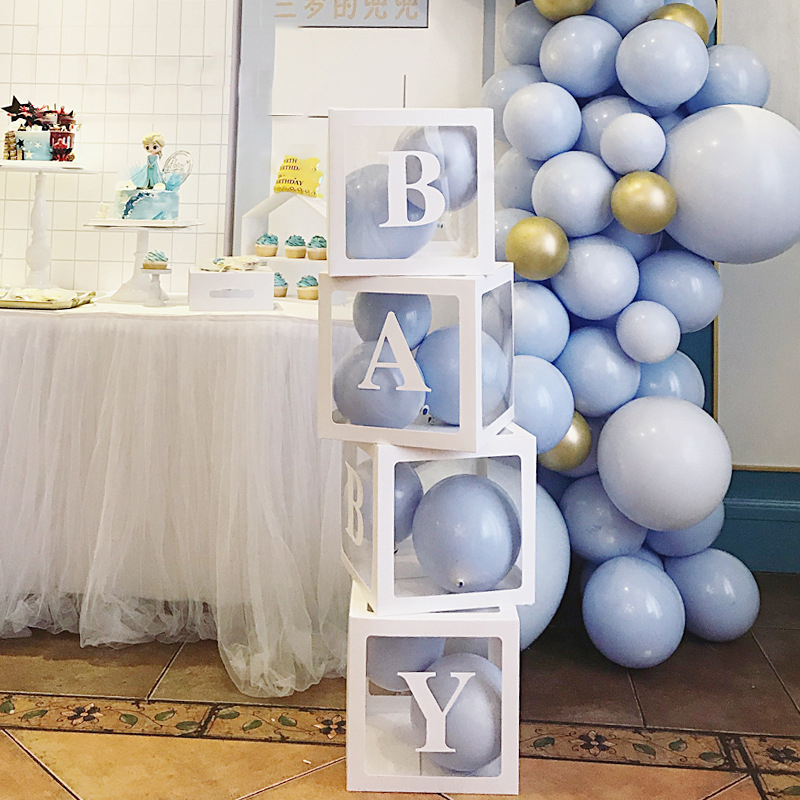 Taoup Baby Transparent Box Storage Balloons Happy Birthday Party Supplies Baby Shower Favors Paper Cardboard Box Gifts Packaging