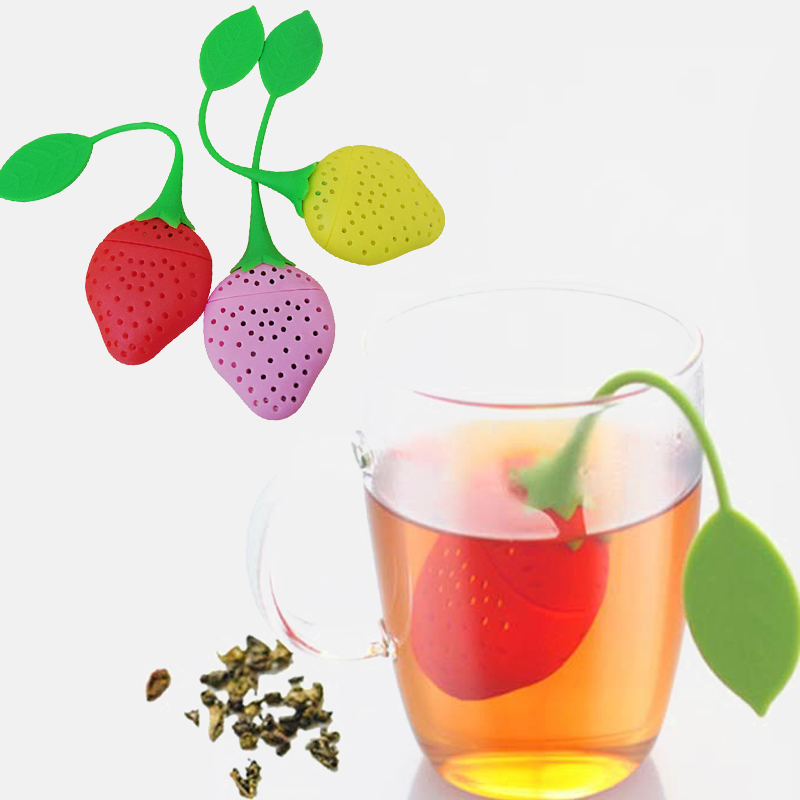 1 PCS Tea Bag Teapot Accessory Kitchen Supplies Tea Strainer Non-toxic Strawberry Shape Silicone Tea Infuser