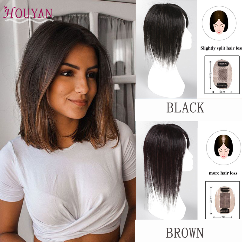 HOUYAN Straight Hair Really Hair Material Hand-made Hairpiece Top Piece Hair Accessorics for Adult Women/Men Daily Use