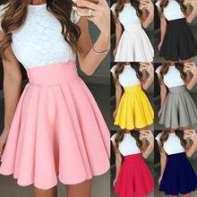 Novedad de verano Ropa mujer kobiety moda wysokiej talii Tutu Multicolor plisowana jednolita, krótka sukienka Kobieta spódnica 2021 #